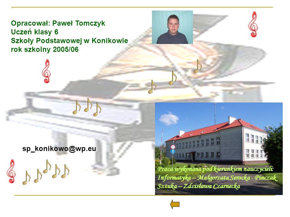 Opracował: Paweł Tomczyk Uczeń klasy 6 Szkoły Podstawowej w Konikowie rok szkolny 2005/06 Praca wykonana pod kierunkiem nauczycieli: Informatyka – Mał