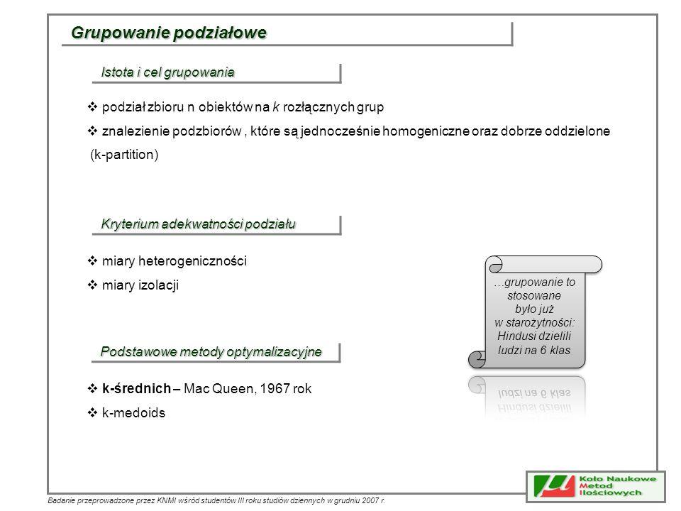 Badanie przeprowadzone przez KNMI wśród studentów III roku studiów dziennych w grudniu 2007 r. Grupowanie podziałowe Istota i cel grupowania podział z