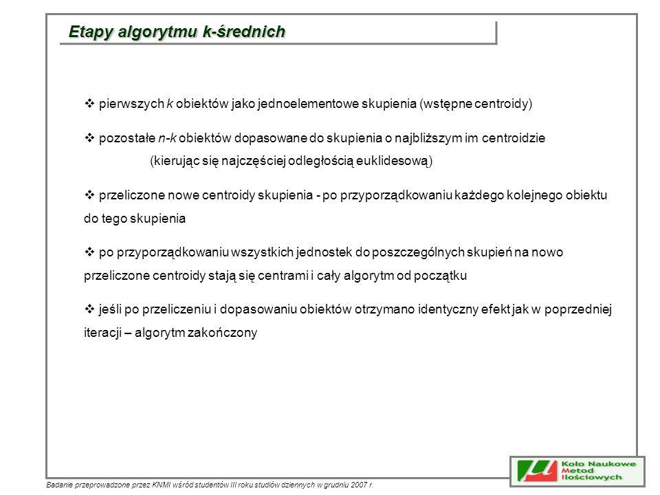 Badanie przeprowadzone przez KNMI wśród studentów III roku studiów dziennych w grudniu 2007 r. Etapy algorytmu k-średnich pierwszych k obiektów jako j