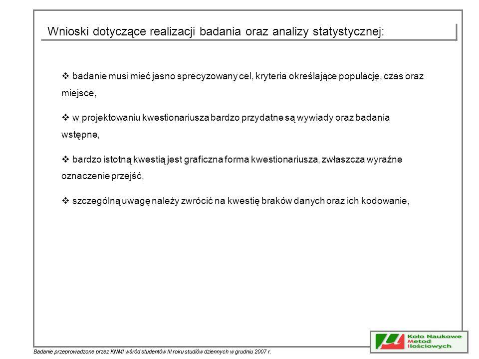 Badanie przeprowadzone przez KNMI wśród studentów III roku studiów dziennych w grudniu 2007 r. Wnioski dotyczące realizacji badania oraz analizy staty