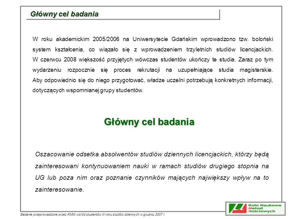 Badanie przeprowadzone przez KNMI wśród studentów III roku studiów dziennych w grudniu 2007 r. Główny cel badania W roku akademickim 2005/2006 na Uniw