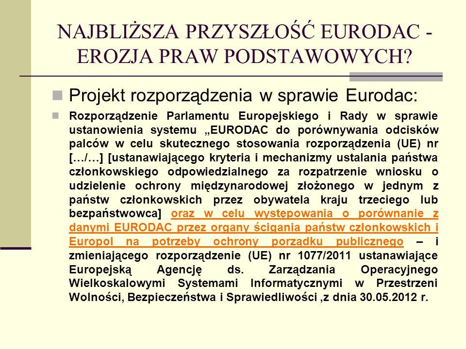 NAJBLIŻSZA PRZYSZŁOŚĆ EURODAC - EROZJA PRAW PODSTAWOWYCH? Projekt rozporządzenia w sprawie Eurodac: Rozporządzenie Parlamentu Europejskiego i Rady w s