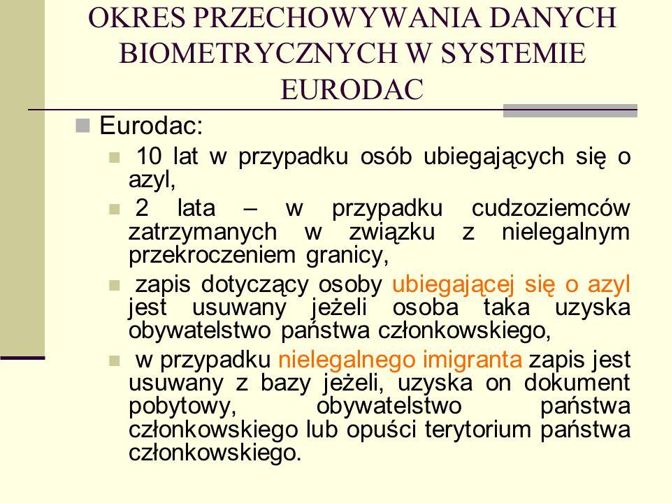 OKRES PRZECHOWYWANIA DANYCH BIOMETRYCZNYCH W SYSTEMIE EURODAC Eurodac: 10 lat w przypadku osób ubiegających się o azyl, 2 lata – w przypadku cudzoziem