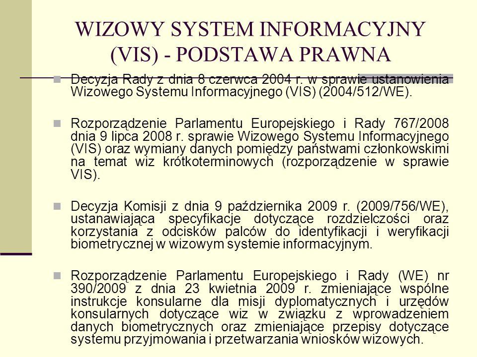 WIZOWY SYSTEM INFORMACYJNY (VIS) - PODSTAWA PRAWNA Decyzja Rady z dnia 8 czerwca 2004 r. w sprawie ustanowienia Wizowego Systemu Informacyjnego (VIS)