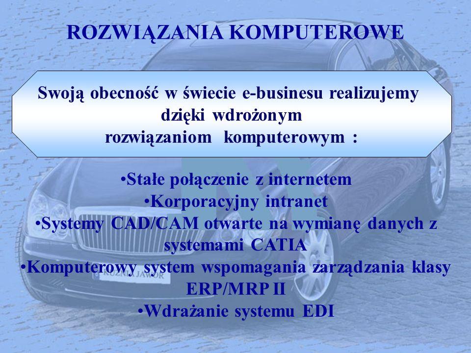ROZWIĄZANIA KOMPUTEROWE Stałe połączenie z internetem Korporacyjny intranet Systemy CAD/CAM otwarte na wymianę danych z systemami CATIA Komputerowy sy