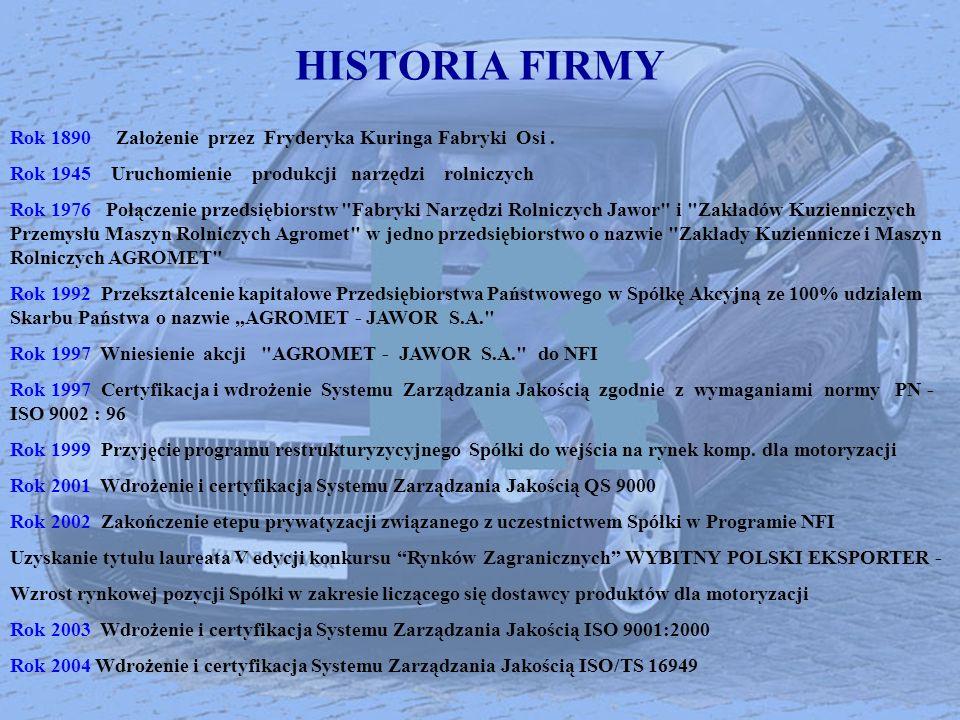 HISTORIA FIRMY Rok 1890 Założenie przez Fryderyka Kuringa Fabryki Osi. Rok 1945 Uruchomienie produkcji narzędzi rolniczych Rok 1976Połączenie przedsię