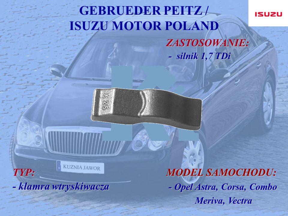 GEBRUEDER PEITZ / ISUZU MOTOR POLAND ZASTOSOWANIE: ZASTOSOWANIE: - silnik 1,7 TDi - silnik 1,7 TDi TYP: - klamra wtryskiwacza MODEL SAMOCHODU: - Opel