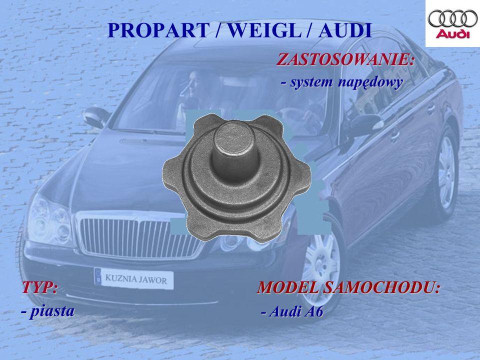 PROPART / WEIGL / AUDI ZASTOSOWANIE: ZASTOSOWANIE: - system napędowy - system napędowy TYP: - piasta MODEL SAMOCHODU: - Audi A6 - Audi A6