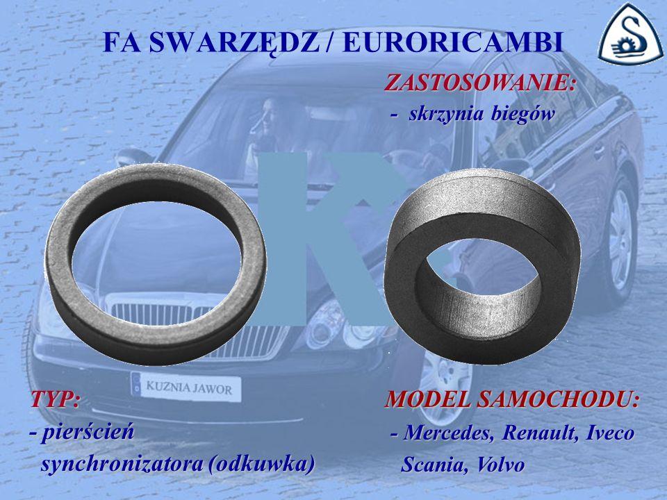 FA SWARZĘDZ / EURORICAMBI ZASTOSOWANIE: ZASTOSOWANIE: - skrzynia biegów - skrzynia biegów TYP: - pierścień synchronizatora (odkuwka) synchronizatora (