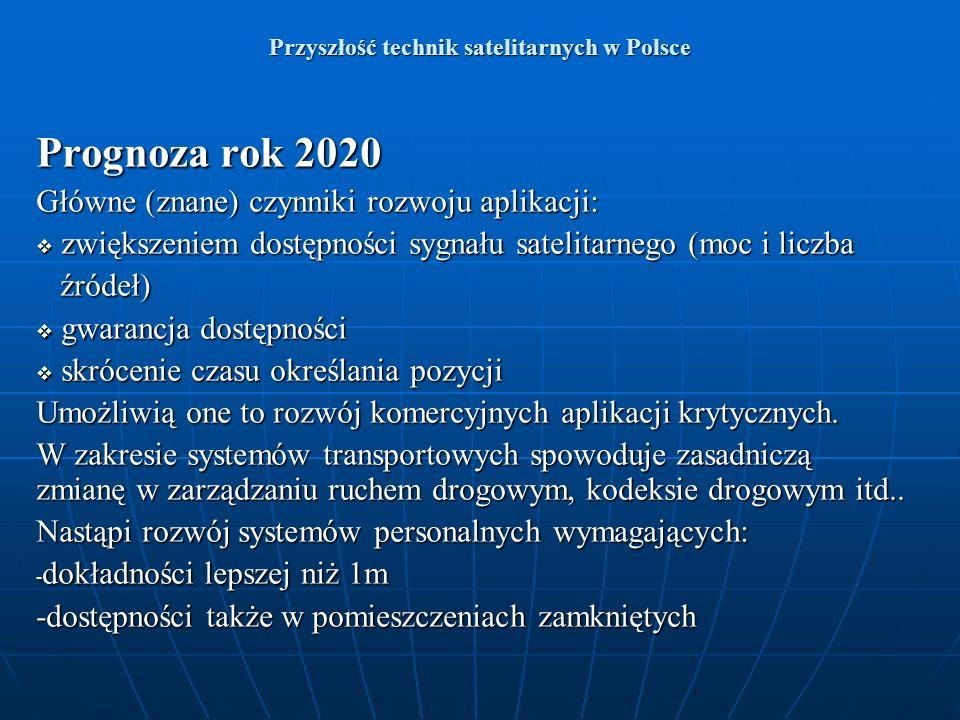 Przyszłość technik satelitarnych w Polsce Prognoza rok 2020 Główne (znane) czynniki rozwoju aplikacji: zwiększeniem dostępności sygnału satelitarnego