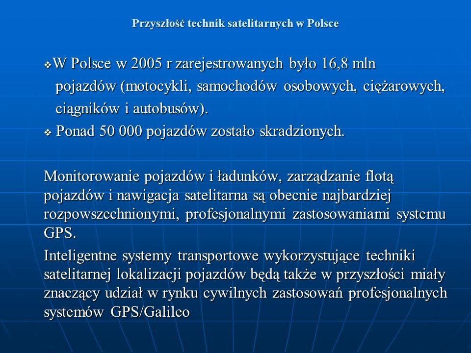 Przyszłość technik satelitarnych w Polsce W Polsce w 2005 r zarejestrowanych było 16,8 mln W Polsce w 2005 r zarejestrowanych było 16,8 mln pojazdów (