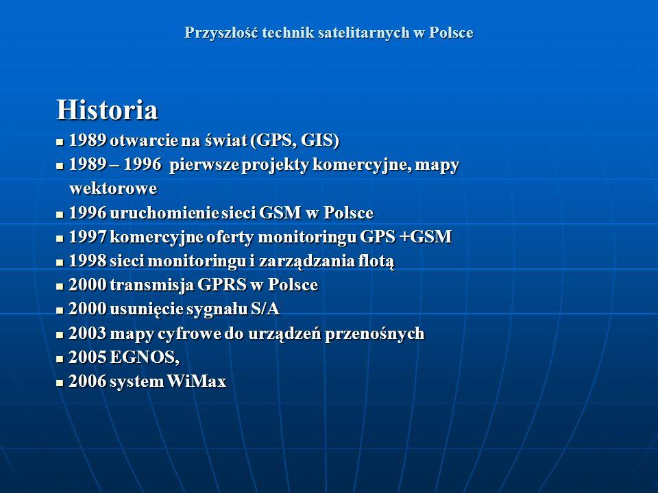 Przyszłość technik satelitarnych w Polsce Historia 1989 otwarcie na świat (GPS, GIS) 1989 otwarcie na świat (GPS, GIS) 1989 – 1996 pierwsze projekty k