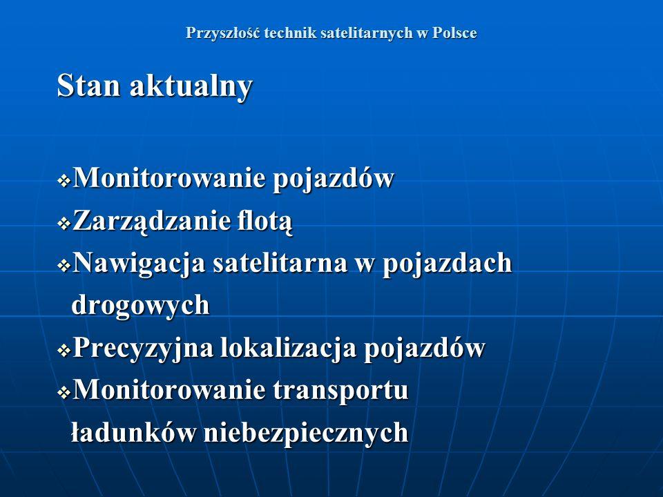 Przyszłość technik satelitarnych w Polsce Stan aktualny Monitorowanie pojazdów Monitorowanie pojazdów Zarządzanie flotą Zarządzanie flotą Nawigacja sa