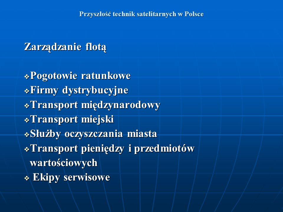 Przyszłość technik satelitarnych w Polsce Zarządzanie flotą Pogotowie ratunkowe Pogotowie ratunkowe Firmy dystrybucyjne Firmy dystrybucyjne Transport
