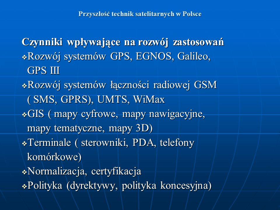 Przyszłość technik satelitarnych w Polsce Czynniki wpływające na rozwój zastosowań Rozwój systemów GPS, EGNOS, Galileo, Rozwój systemów GPS, EGNOS, Ga