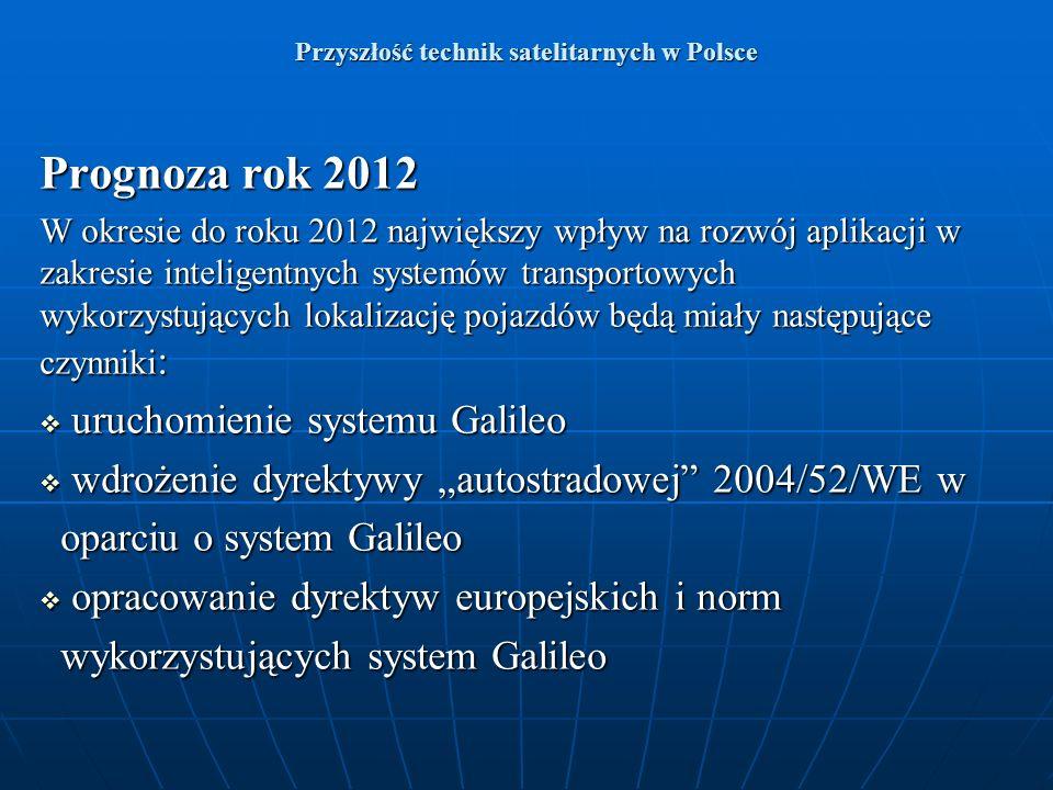 Przyszłość technik satelitarnych w Polsce Prognoza rok 2012 W okresie do roku 2012 największy wpływ na rozwój aplikacji w zakresie inteligentnych syst