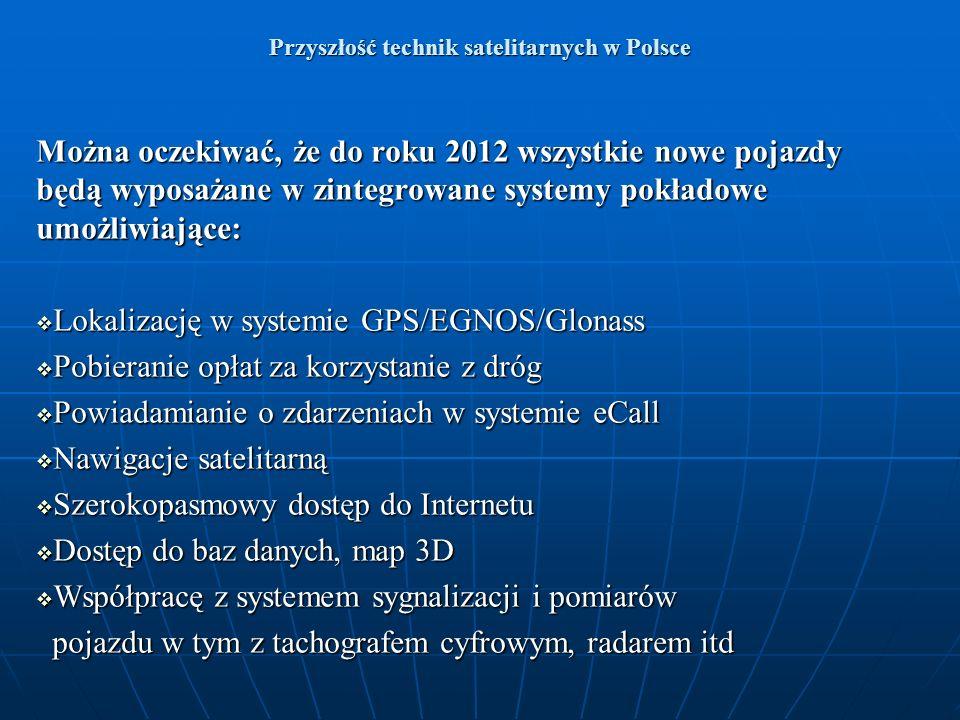 Przyszłość technik satelitarnych w Polsce Można oczekiwać, że do roku 2012 wszystkie nowe pojazdy będą wyposażane w zintegrowane systemy pokładowe umo
