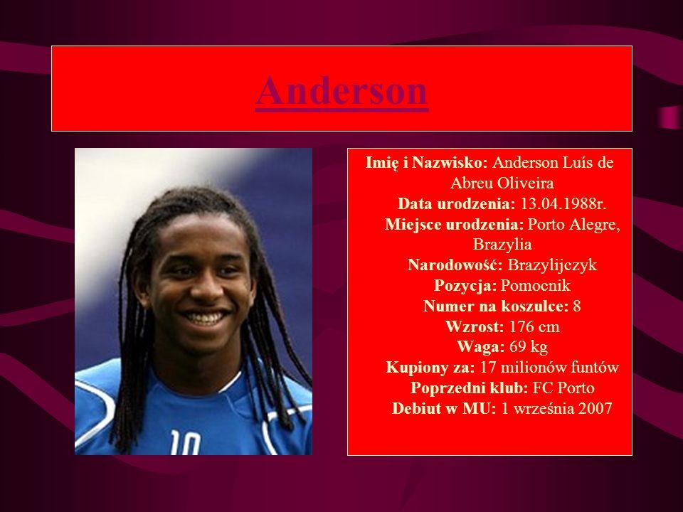 Anderson Imię i Nazwisko: Anderson Luís de Abreu Oliveira Data urodzenia: 13.04.1988r. Miejsce urodzenia: Porto Alegre, Brazylia Narodowość: Brazylijc