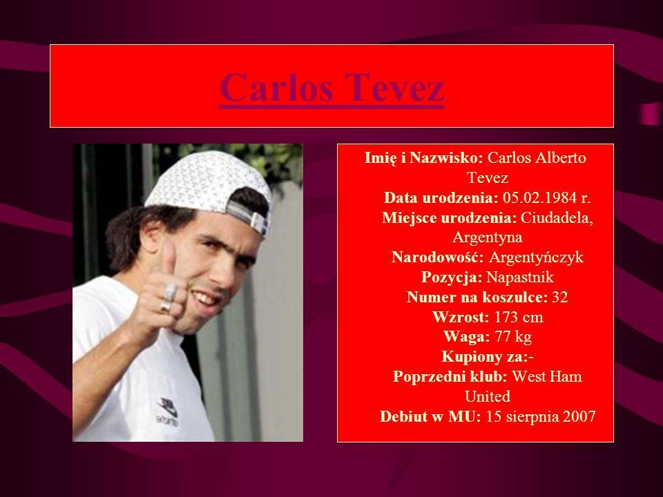 Carlos Tevez Imię i Nazwisko: Carlos Alberto Tevez Data urodzenia: 05.02.1984 r. Miejsce urodzenia: Ciudadela, Argentyna Narodowość: Argentyńczyk Pozy