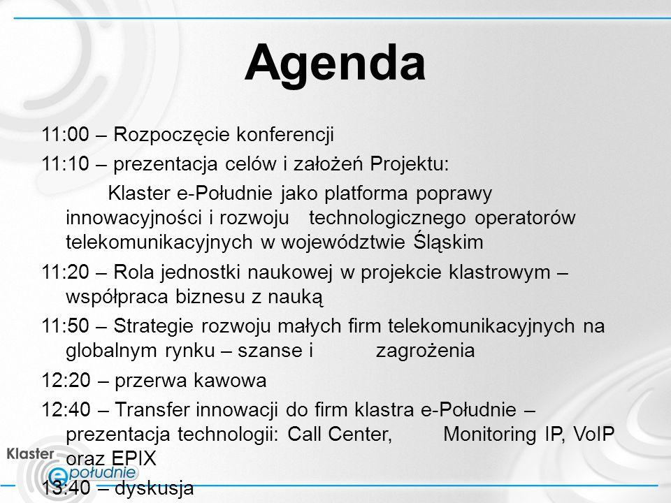 Klaster e-Po ł udnie jako platforma poprawy innowacyjności i rozwoju technologicznego operatorów telekomunikacyjnych w województwie Śląskim 1.Geneza klastra e-Południe 2.Poszukiwania finansowania 3.Przedstawienie projektu klastra E- Południe 2.1 Ogólny koncepcja 2.2 Cele projektu 2.3 Harmonogram działań
