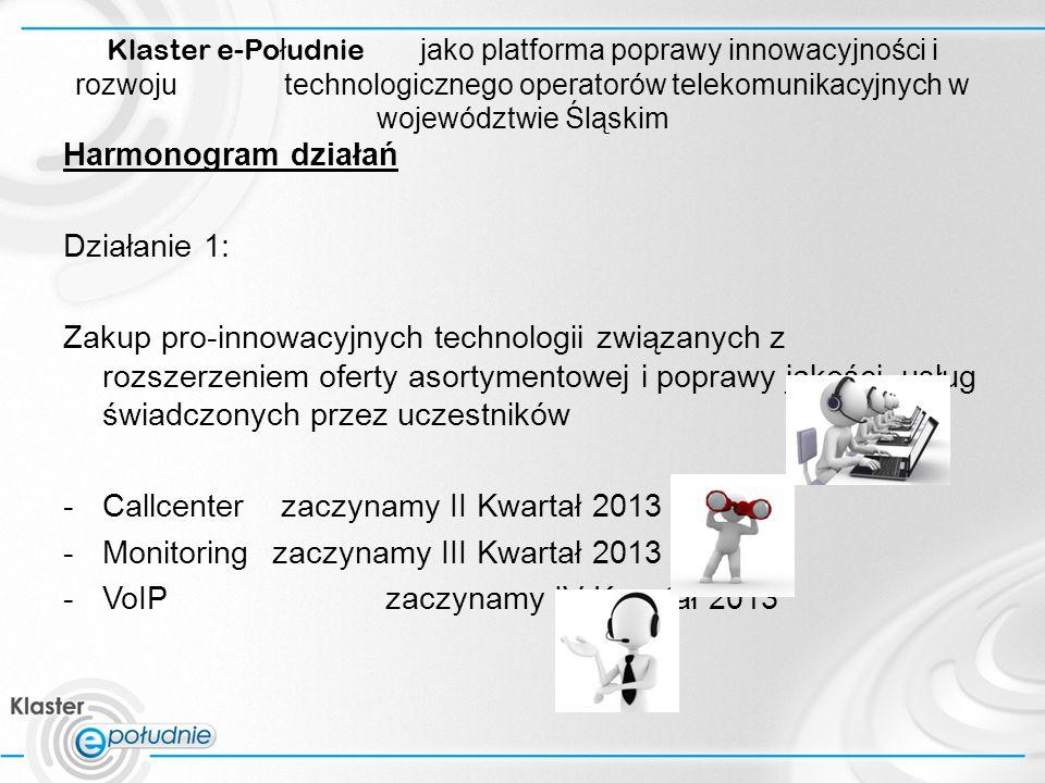 Klaster e-Po ł udnie jako platforma poprawy innowacyjności i rozwoju technologicznego operatorów telekomunikacyjnych w województwie Śląskim Harmonogram działań Działanie 2: Urządzenie laboratorium projektu umożliwiającego współpracę uczestników klastra z wykonawcami pro-innowacyjnych technologii.