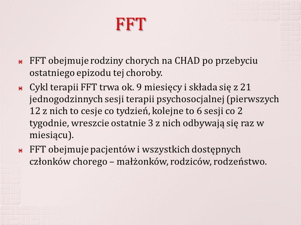FFT FFT obejmuje rodziny chorych na CHAD po przebyciu ostatniego epizodu tej choroby. Cykl terapii FFT trwa ok. 9 miesięcy i składa się z 21 jednogodz