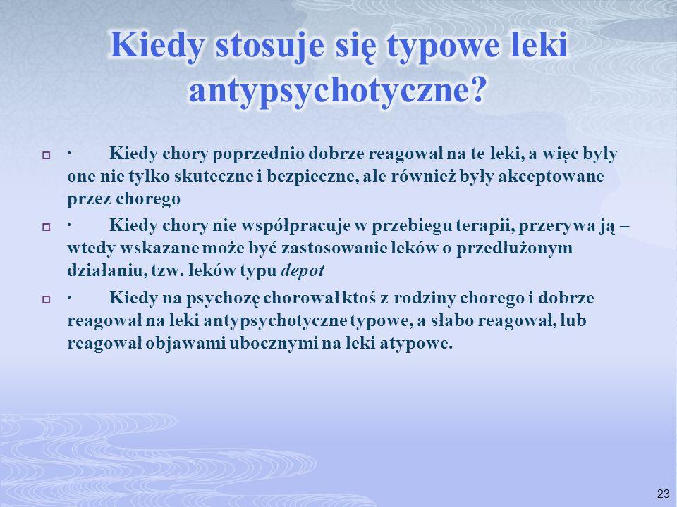 · Kiedy chory poprzednio dobrze reagował na te leki, a więc były one nie tylko skuteczne i bezpieczne, ale również były akceptowane przez chorego · Ki