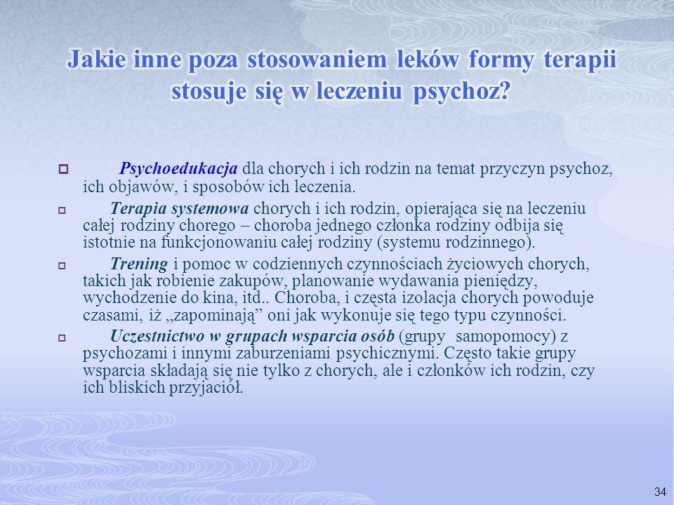 Psychoedukacja dla chorych i ich rodzin na temat przyczyn psychoz, ich objawów, i sposobów ich leczenia. Terapia systemowa chorych i ich rodzin, opier