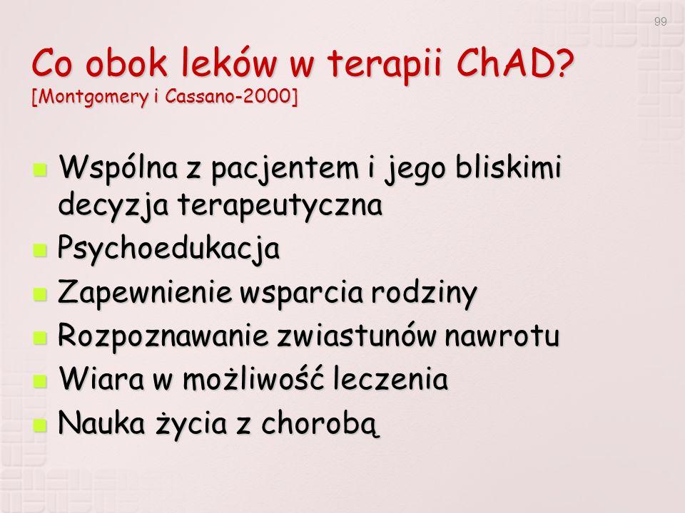 99 Co obok leków w terapii ChAD? [Montgomery i Cassano-2000] Wspólna z pacjentem i jego bliskimi decyzja terapeutyczna Wspólna z pacjentem i jego blis