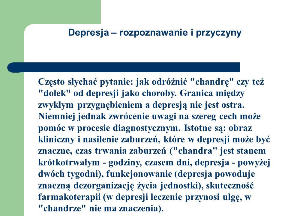 Depresja – rozpoznawanie i przyczyny Często słychać pytanie: jak odróżnić chandrę czy też dołek od depresji jako choroby.