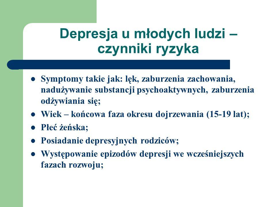 Depresja u młodych ludzi – czynniki ryzyka Symptomy takie jak: lęk, zaburzenia zachowania, nadużywanie substancji psychoaktywnych, zaburzenia odżywiania się; Wiek – końcowa faza okresu dojrzewania (15-19 lat); Płeć żeńska; Posiadanie depresyjnych rodziców; Występowanie epizodów depresji we wcześniejszych fazach rozwoju;