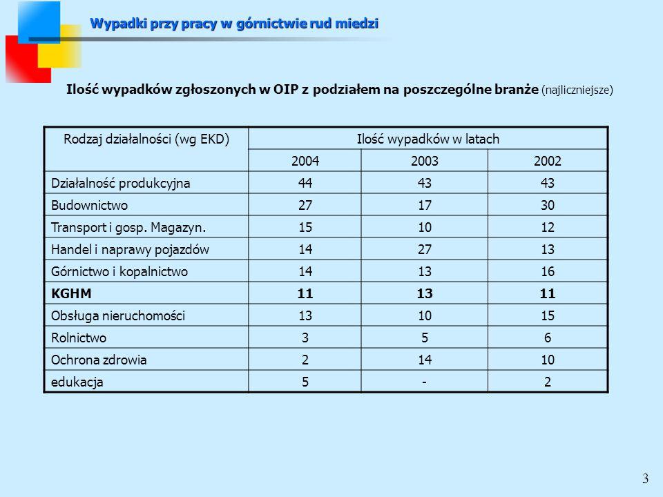 Ilość wypadków zgłoszonych w OIP z podziałem na poszczególne branże (najliczniejsze) Rodzaj działalności (wg EKD)Ilość wypadków w latach 200420032002 Działalność produkcyjna4443 Budownictwo271730 Transport i gosp.