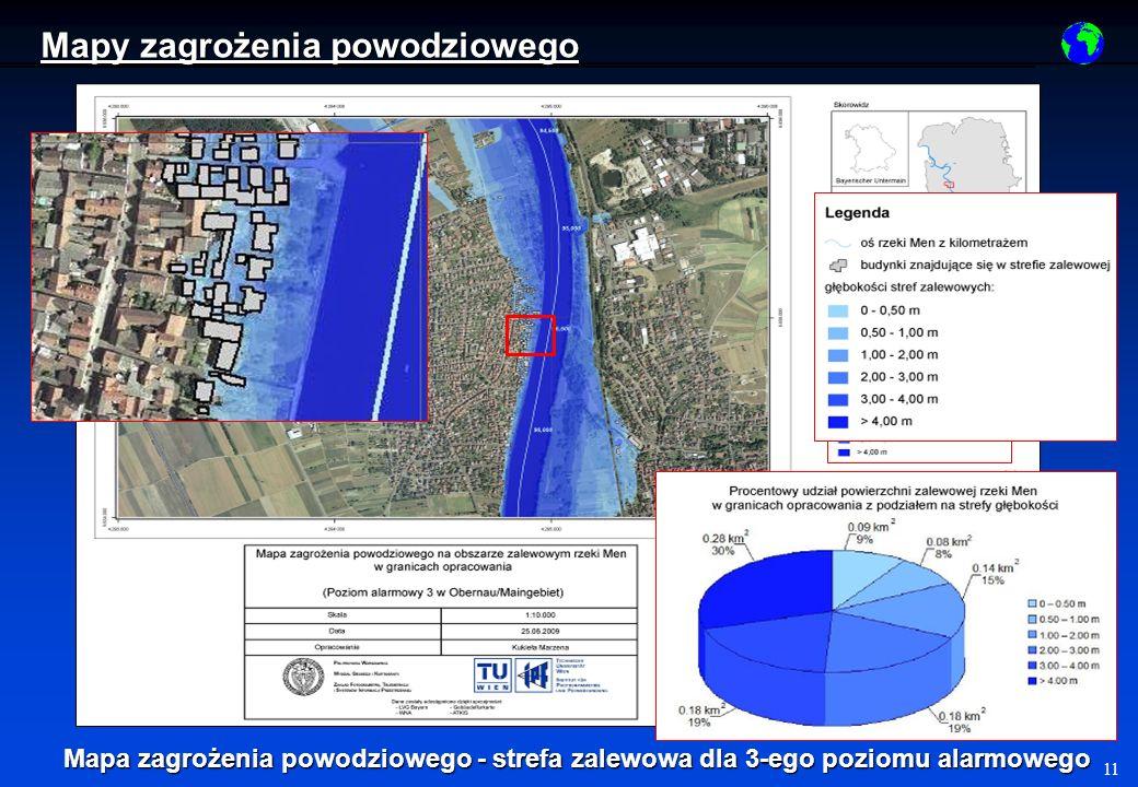 11 Mapa zagrożenia powodziowego - strefa zalewowa dla 3-ego poziomu alarmowego Mapy zagrożenia powodziowego