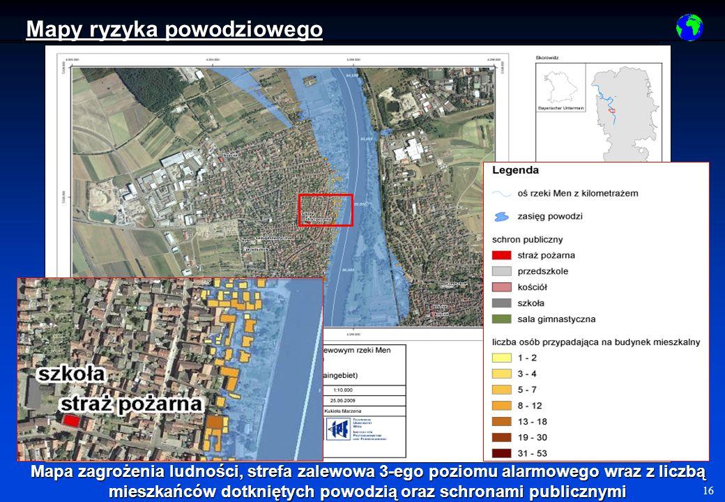 16 Mapa zagrożenia ludności, strefa zalewowa 3-ego poziomu alarmowego wraz z liczbą mieszkańców dotkniętych powodzią oraz schronami publicznymi Mapy ryzyka powodziowego