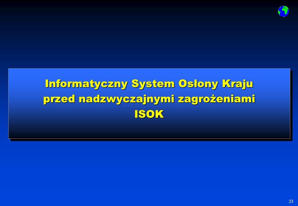 23 Informatyczny System Osłony Kraju przed nadzwyczajnymi zagrożeniami ISOK