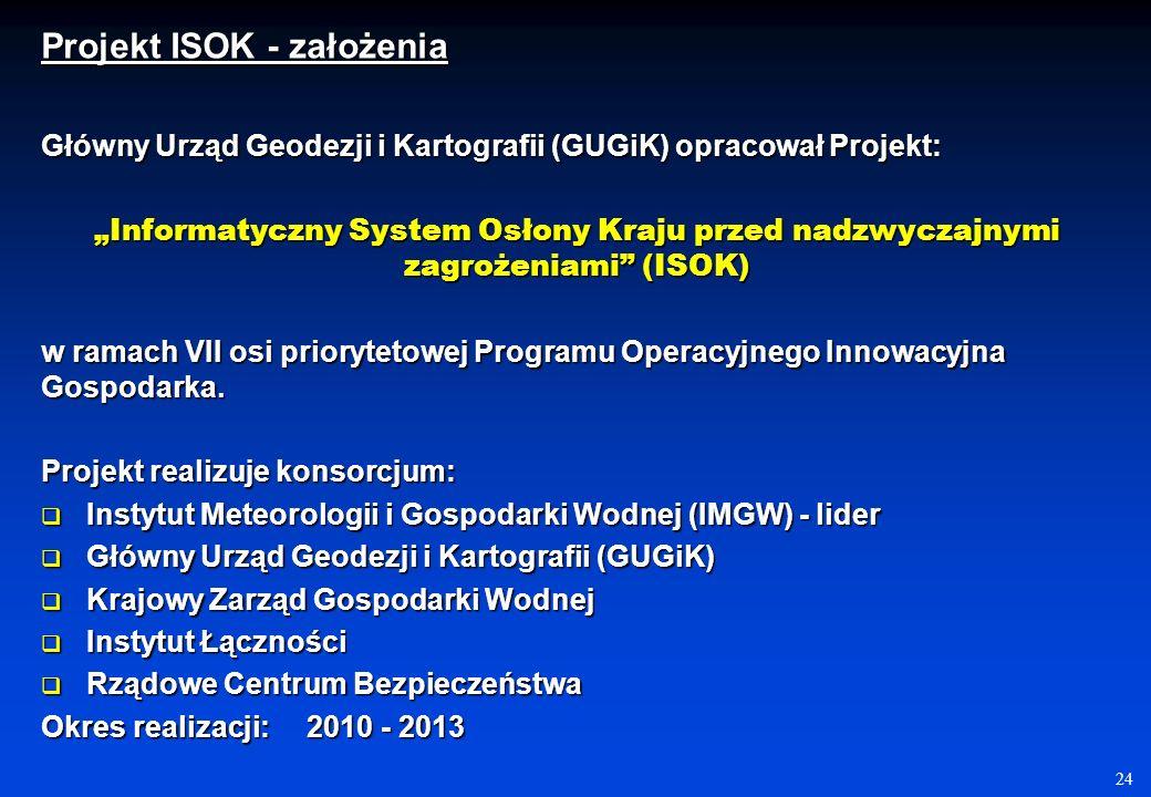 24 Główny Urząd Geodezji i Kartografii (GUGiK) opracował Projekt: Informatyczny System Osłony Kraju przed nadzwyczajnymi zagrożeniami (ISOK) w ramach VII osi priorytetowej Programu Operacyjnego Innowacyjna Gospodarka.