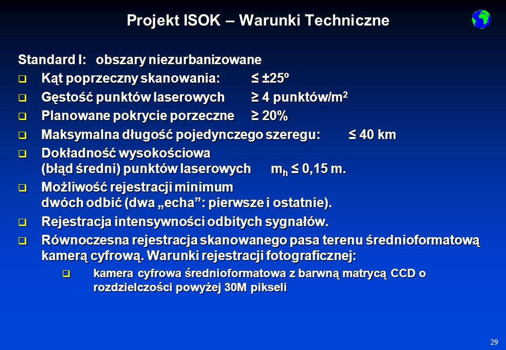 29 Standard I: obszary niezurbanizowane Kąt poprzeczny skanowania: ±25º Kąt poprzeczny skanowania: ±25º Gęstość punktów laserowych 4 punktów/m 2 Gęstość punktów laserowych 4 punktów/m 2 Planowane pokrycie porzeczne 20% Planowane pokrycie porzeczne 20% Maksymalna długość pojedynczego szeregu: 40 km Maksymalna długość pojedynczego szeregu: 40 km Dokładność wysokościowa (błąd średni) punktów laserowychm h 0,15 m.