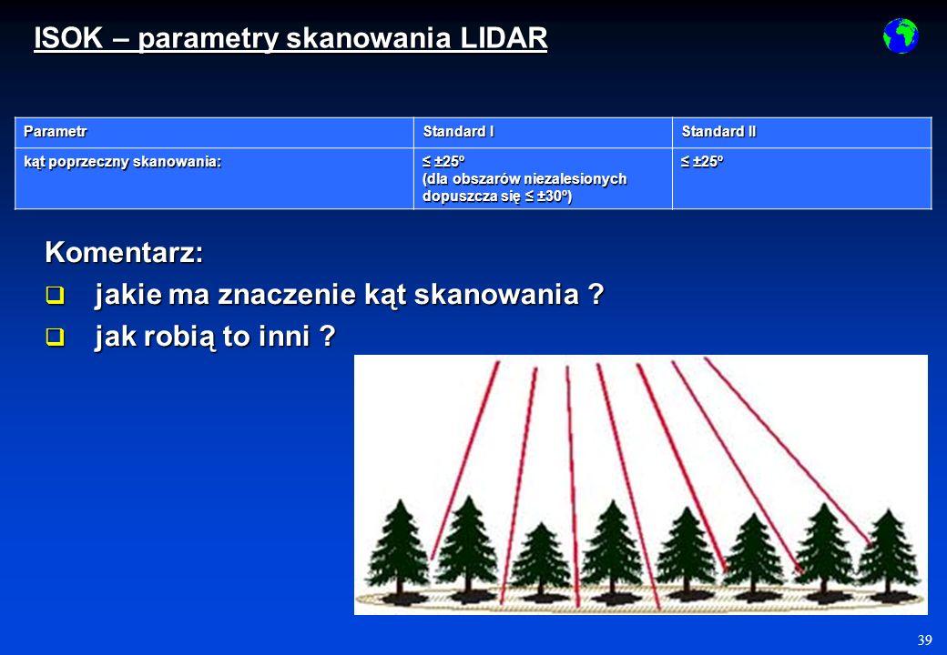 39 Parametr Standard I Standard II kąt poprzeczny skanowania: ±25º ±25º (dla obszarów niezalesionych dopuszcza się ±30º) ±25º ±25º Komentarz: jakie ma znaczenie kąt skanowania .