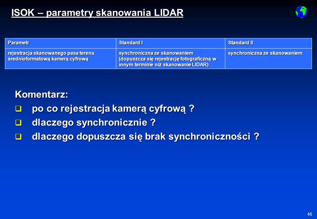 46 Parametr Standard I Standard II rejestracja skanowanego pasa terenu średnioformatową kamerą cyfrową synchroniczna ze skanowaniem (dopuszcza się rejestrację fotograficzną w innym terminie niż skanowanie LIDAR) synchroniczna ze skanowaniem Komentarz: po co rejestracja kamerą cyfrową .