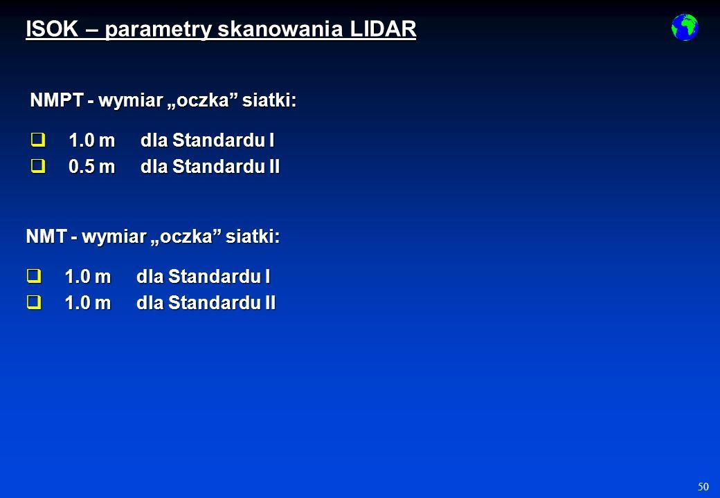 50 NMPT - wymiar oczka siatki: 1.0 m dla Standardu I 1.0 m dla Standardu I 0.5 m dla Standardu II 0.5 m dla Standardu II NMT - wymiar oczka siatki: 1.0 m dla Standardu I 1.0 m dla Standardu I 1.0 m dla Standardu II 1.0 m dla Standardu II ISOK – parametry skanowania LIDAR