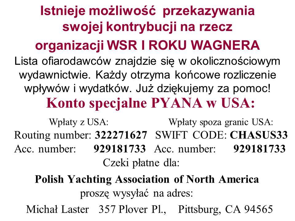 Istnieje możliwość przekazywania swojej kontrybucji na rzecz organizacji WSR I ROKU WAGNERA Lista ofiarodawców znajdzie się w okolicznościowym wydawni