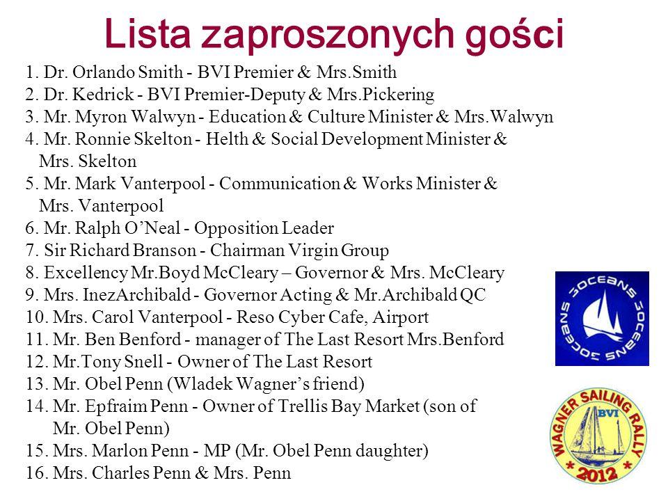 Lista zaproszonych goś c i 1. Dr. Orlando Smith - BVI Premier & Mrs.Smith 2. Dr. Kedrick - BVI Premier-Deputy & Mrs.Pickering 3. Mr. Myron Walwyn - Ed