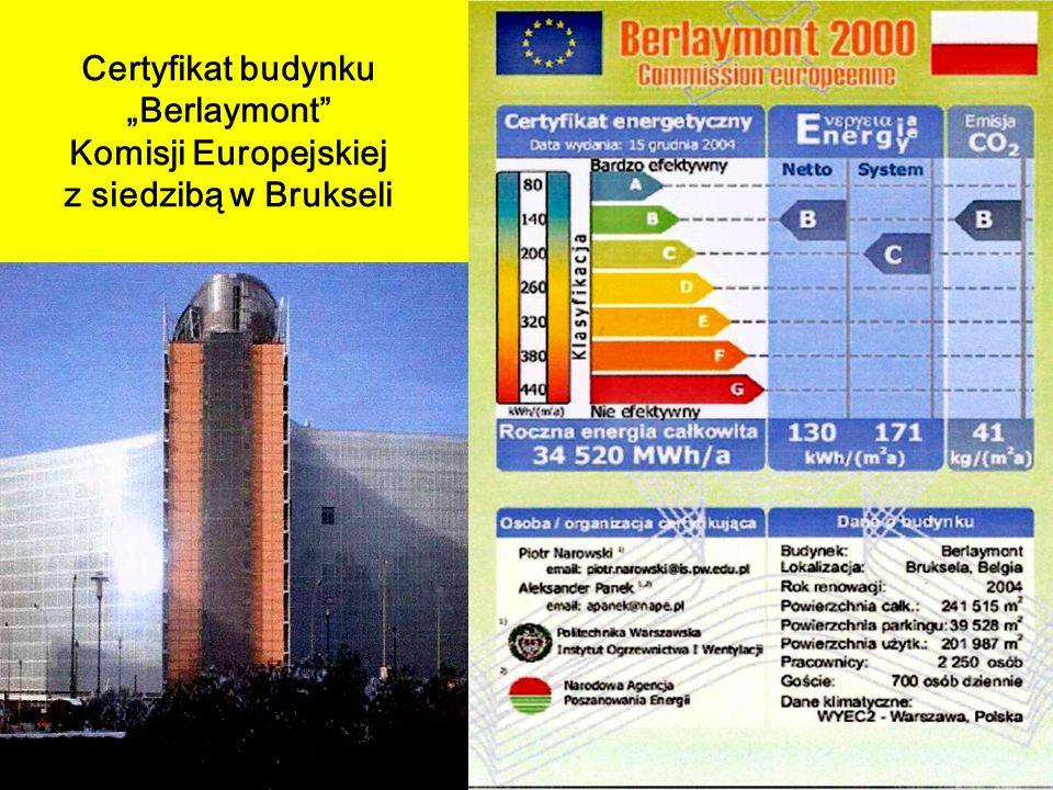 Certyfikat budynku Berlaymont Komisji Europejskiej z siedzibą w Brukseli