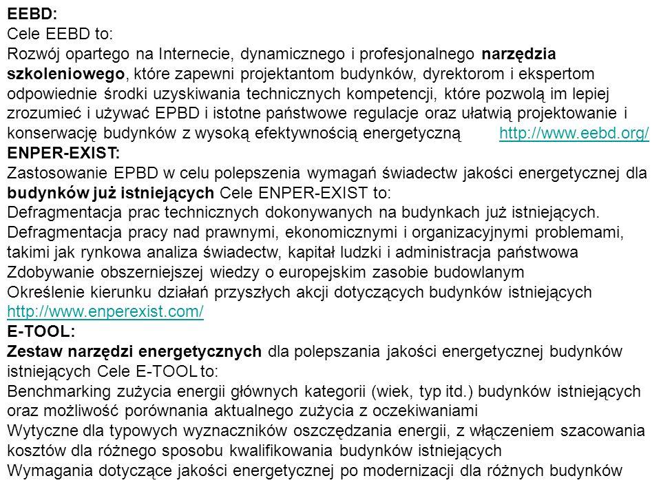 EEBD: Cele EEBD to: Rozwój opartego na Internecie, dynamicznego i profesjonalnego narzędzia szkoleniowego, które zapewni projektantom budynków, dyrekt