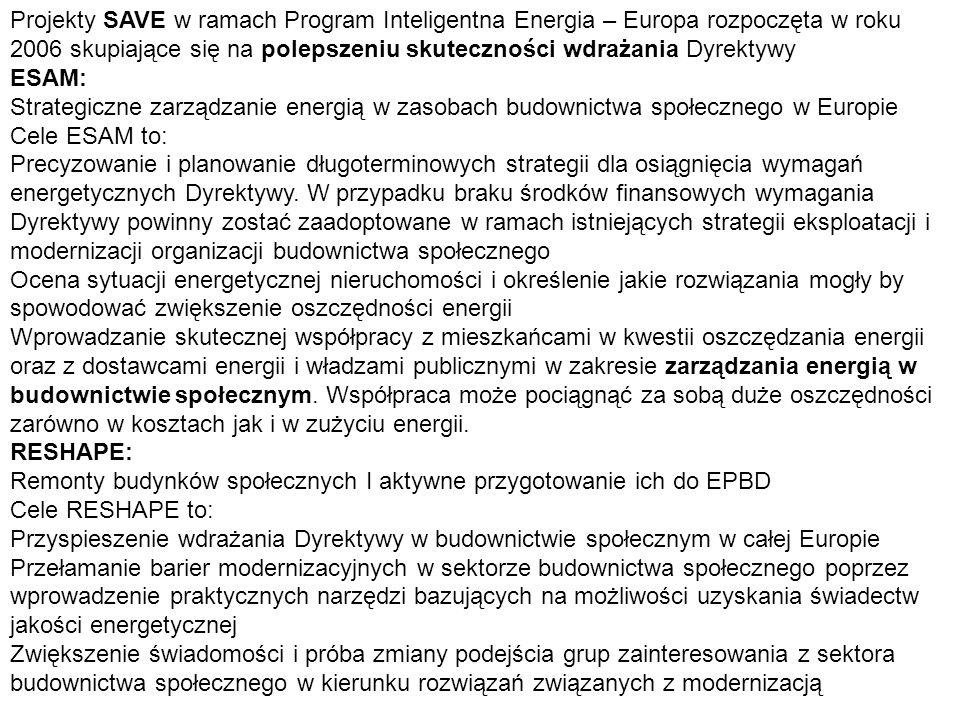 Projekty SAVE w ramach Program Inteligentna Energia – Europa rozpoczęta w roku 2006 skupiające się na polepszeniu skuteczności wdrażania Dyrektywy ESA