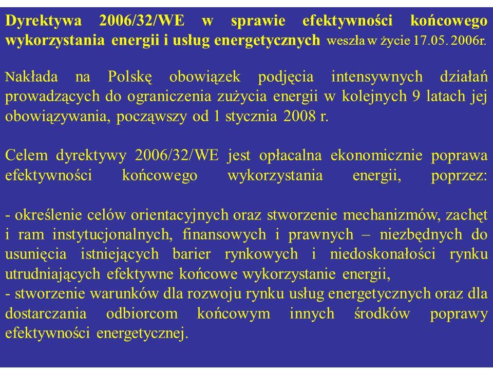 Dyrektywa 2006/32/WE w sprawie efektywności końcowego wykorzystania energii i usług energetycznych weszła w życie 17.05. 2006r. N akłada na Polskę obo