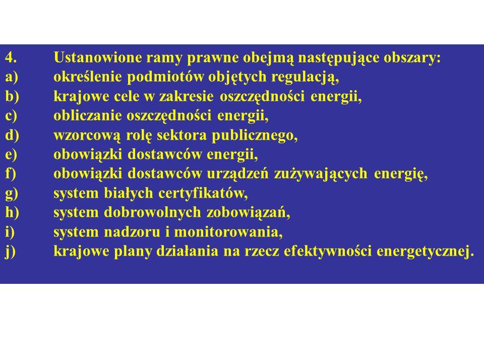 4.Ustanowione ramy prawne obejmą następujące obszary: a)określenie podmiotów objętych regulacją, b)krajowe cele w zakresie oszczędności energii, c)obl