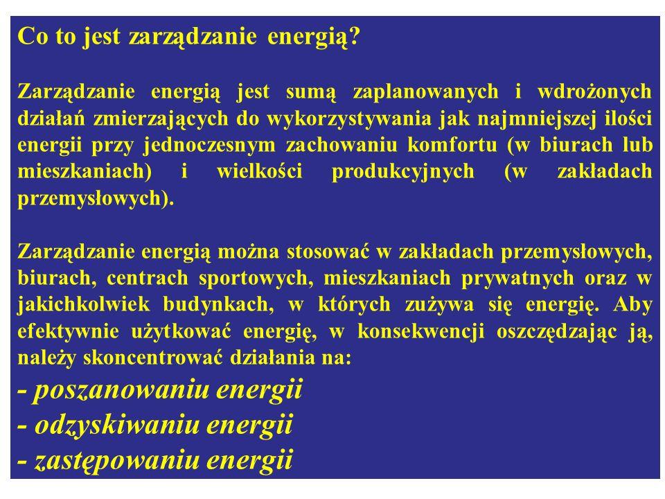 Co to jest zarządzanie energią? Zarządzanie energią jest sumą zaplanowanych i wdrożonych działań zmierzających do wykorzystywania jak najmniejszej ilo
