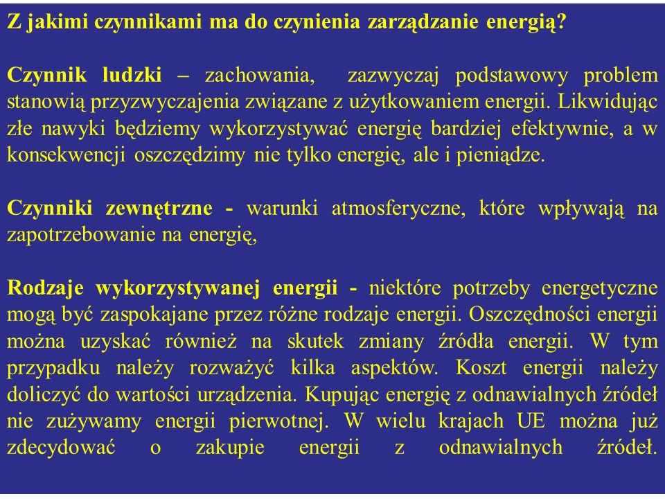 Z jakimi czynnikami ma do czynienia zarządzanie energią? Czynnik ludzki – zachowania, zazwyczaj podstawowy problem stanowią przyzwyczajenia związane z