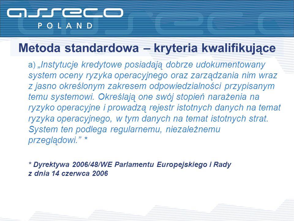 Metoda standardowa – kryteria kwalifikujące a) Instytucje kredytowe posiadają dobrze udokumentowany system oceny ryzyka operacyjnego oraz zarządzania